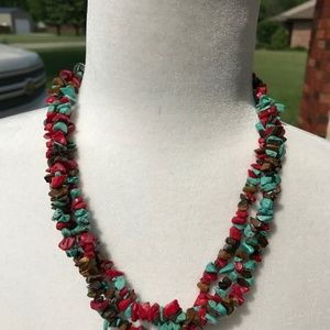 Triple Strand simulated stone necklace